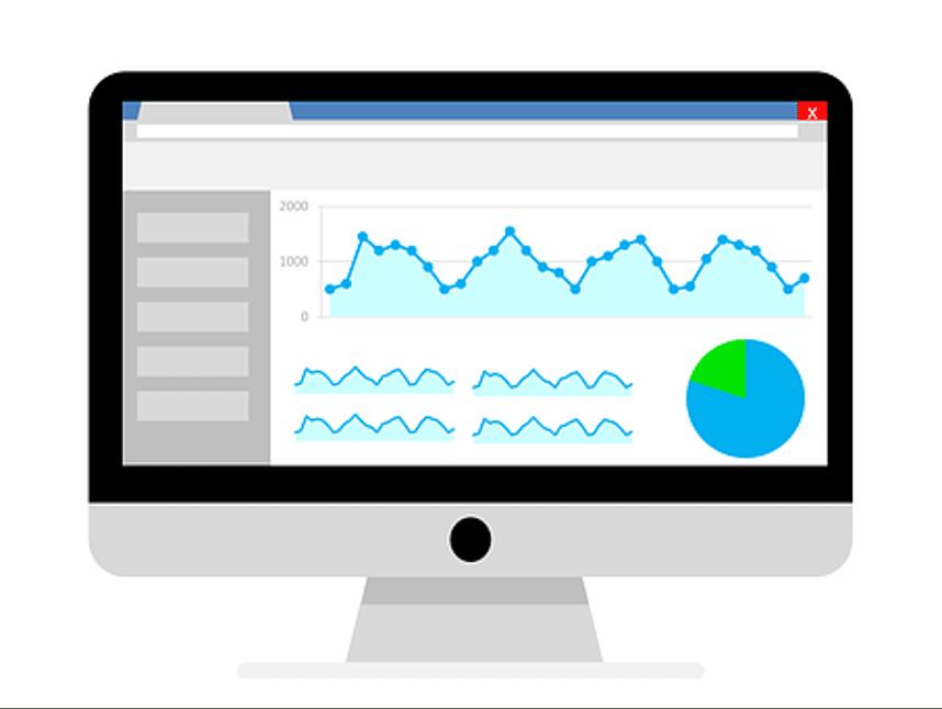 grafische voorstelling van computerscherm met Google Analytics interface