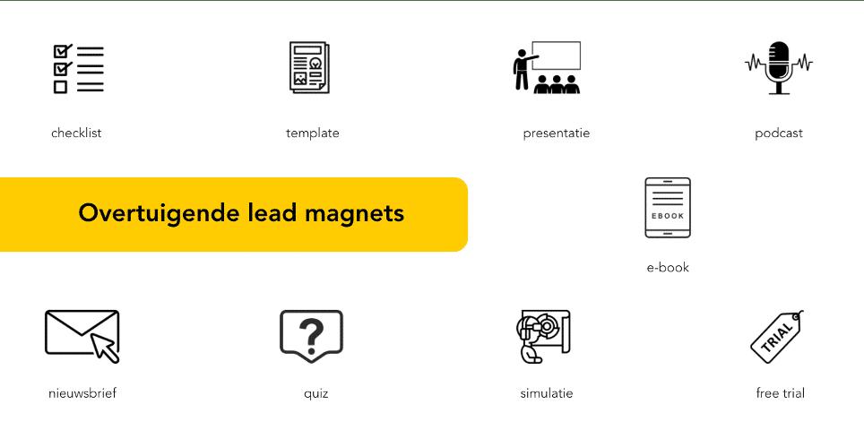 Overtuigende lead magnets: nieuwsbrief, checklist, template, quiz, simulatie, free trial, e-book, podcast, presentatie