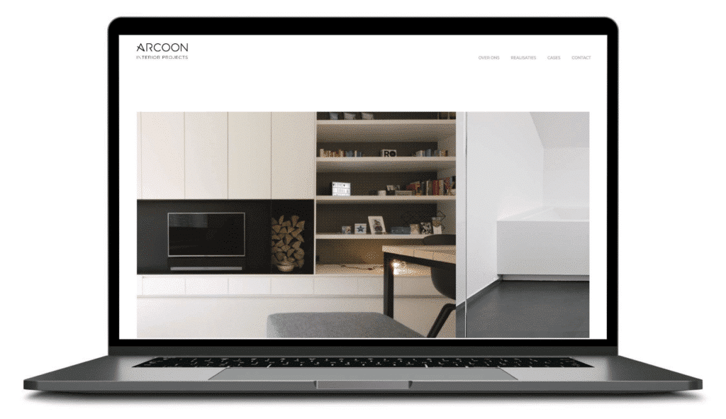 De homepage van Arcoon opent op de homepage