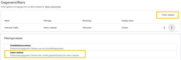 Schermafbeelding van de instelling 'gegevensfilters' in Google Analytics 4 en Schermafbeelding van de instelling 'intern verkeer filteren' in Google Analytics 4