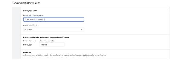 Scherm afbeelding van de instelling 'gegevensfilter maken' in Google Analytics 4